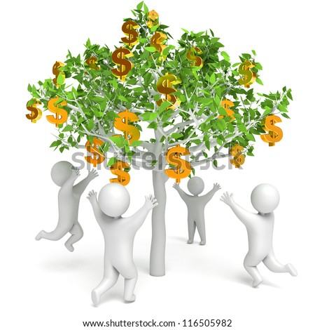 Dollar grows on a tree. Money Tree. People are pulling hand to dollars. Isolated on white background. 3d render - stock photo