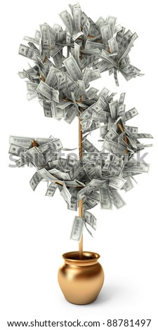 Dollar grows on a tree, on a white background, 3d render - stock photo