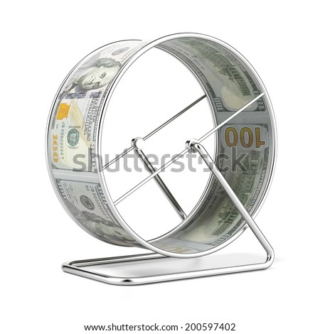 Dollar Hamster Wheel  isolated on a white background.  - stock photo