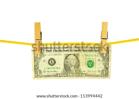 Dollar hang on clothes-peg - stock photo