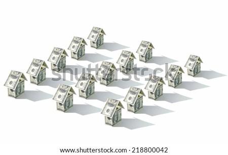 Dollar houses - stock photo
