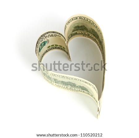 Dollar in form of heart isolated on a white background - stock photo