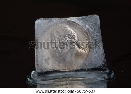 dollar in ice cube - stock photo