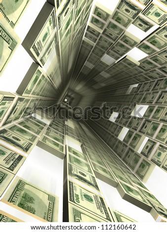 dollar lift shaft - stock photo