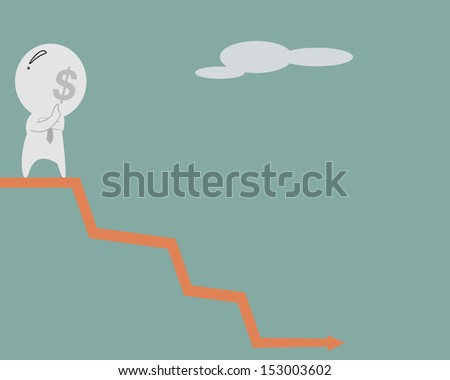 Dollar man think over on drop graph - stock photo
