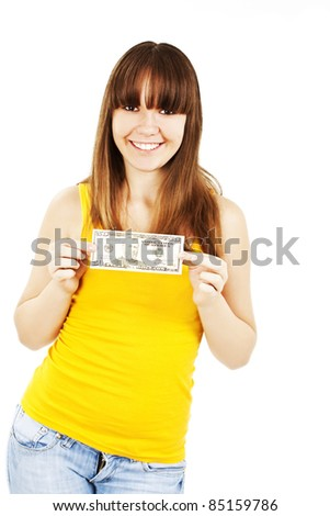Dollar money woman showing 50 dollar bill happy and excited isolated on white background. - stock photo