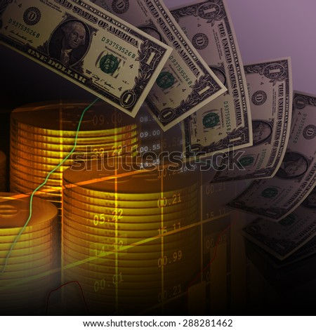 Dollar note with coins, financial background  - stock photo