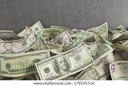 Dollar notes at the ground in the bank vault - stock photo