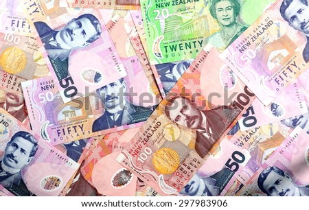 Dollar notes in New Zealand currency $100 $50 $20  - stock photo