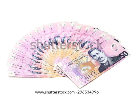 Dollar notes in New Zealand currency $50 on white background - stock photo