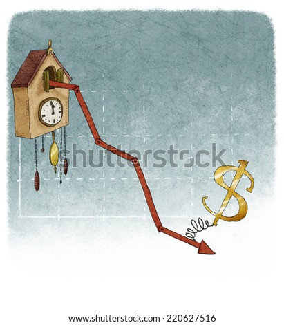 Dollar on financial graph cuckoo clock with negative results - stock photo