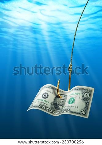 Dollar on the hook - stock photo