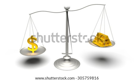 Dollar or Gold. Scales weighing two of the most traded currencies. Left versus right. Good choice versus bad choice. Profit or loss. Full High Definition 4K rendered illustration.