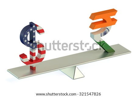 Dollar or Indian Rupee, USD/INR currency pair concept - stock photo