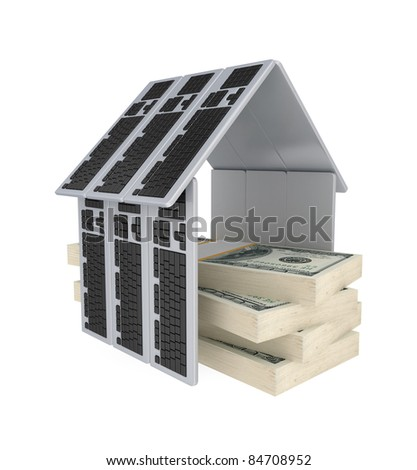 Dollar packs under a roof made of PC keyboards.3d rendered.Isolated on white background. - stock photo