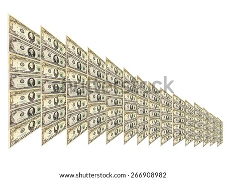 dollar pattern with abstract plate isolated and diminishing in size - stock photo