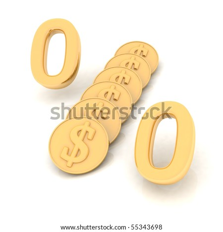 Dollar procent on white background with reflection - stock photo