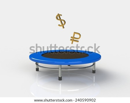 Dollar, ruble Jumping on a trampoline on a white background - stock photo
