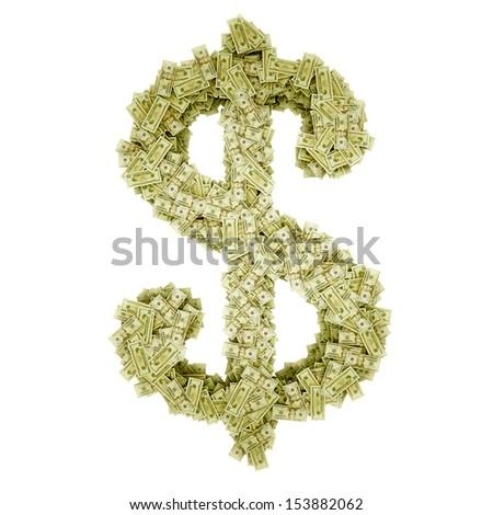 Dollar-shaped pile of money. Isolated on white. - stock photo