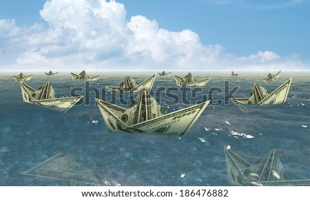 dollar ships in water - economy concept - stock photo