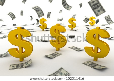 Dollar sign and dollar falling down - stock photo