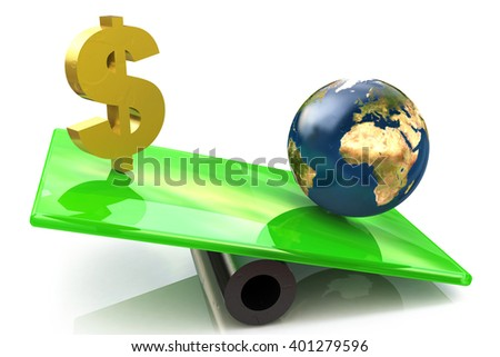 Dollar sign and globe on a scales. 3D rendered illustration - stock photo