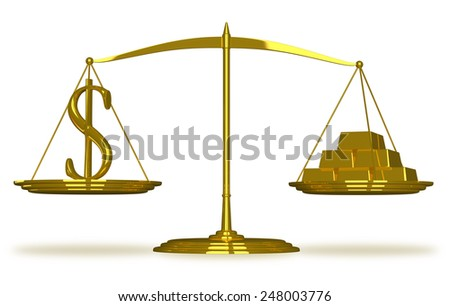 Dollar sign and gold bars on golden scales isolated