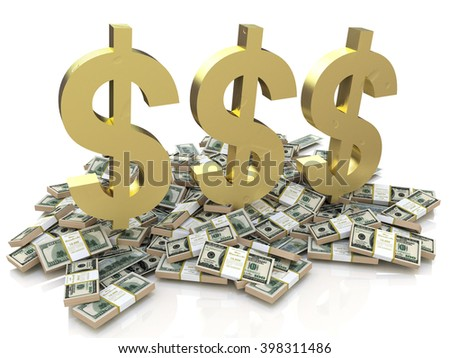 Dollar Sign and stack of money - 3D rendered illustration - stock photo