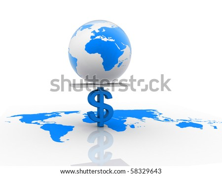 dollar sign carring earth