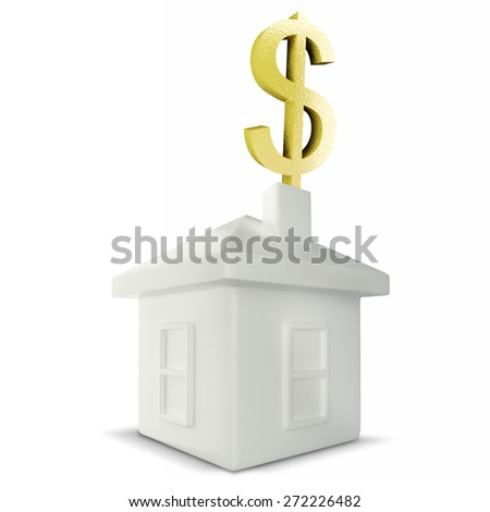 dollar sign falling down into a piggy bank in the form of a gilded house as a symbol of the accumulation - stock photo