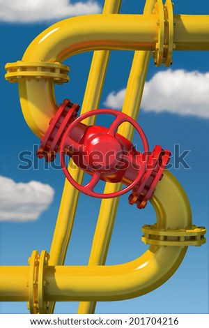 Dollar sign from gas pipeline on sky background - stock photo