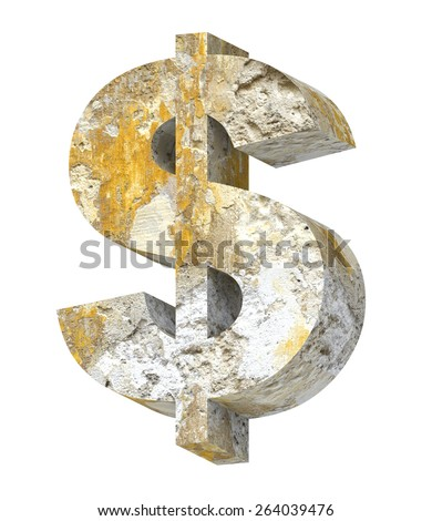 Dollar sign from old concrete alphabet set isolated over white. Computer generated 3D photo rendering. - stock photo