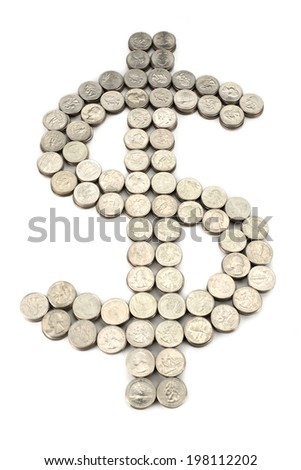 dollar sign from the coins - stock photo