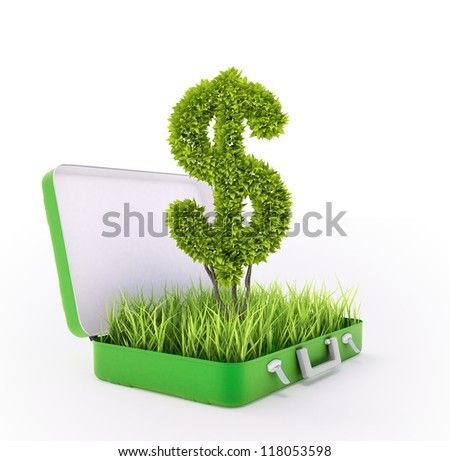 Dollar sign growing out of a grass filled suitcase - green investment concept