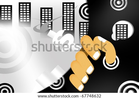 dollar sign in abstract background - stock photo
