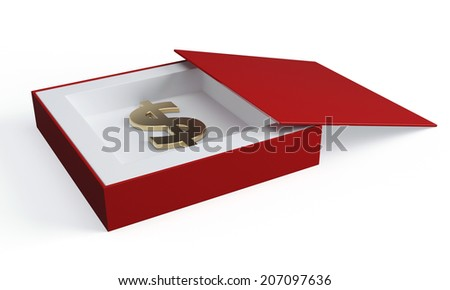 Dollar sign in opened box. 3d render illustration - stock photo
