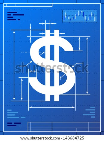 Dollar sign like blueprint drawing stylized stock illustration dollar sign like blueprint drawing stylized drawing of money symbol on blueprint paper qualitative malvernweather Image collections