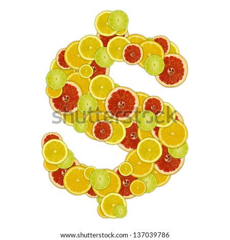 Dollar sign of citrus fruit slices - stock photo