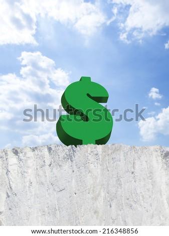 Dollar sign on edge of cliff - stock photo