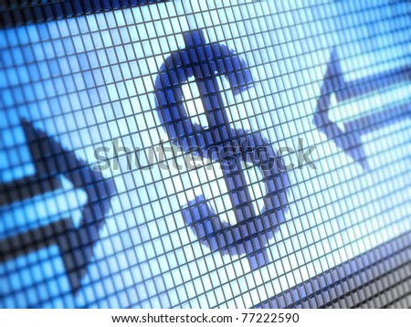 Dollar sign on screen
