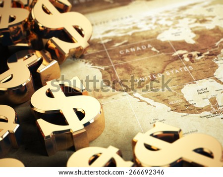 Dollar sign on the world map background with DOF effect. 3d - stock photo