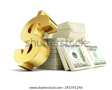 dollar sign stacks of dollars on a white background  - stock photo