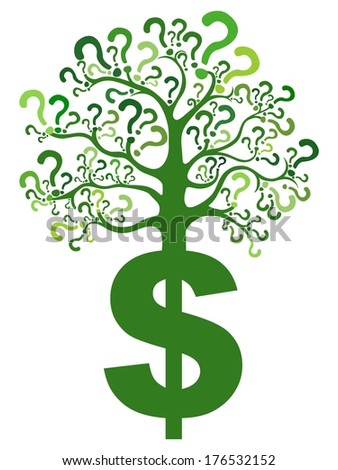 Dollar sign. Tree of questions isolated on White background.  illustration  - stock photo