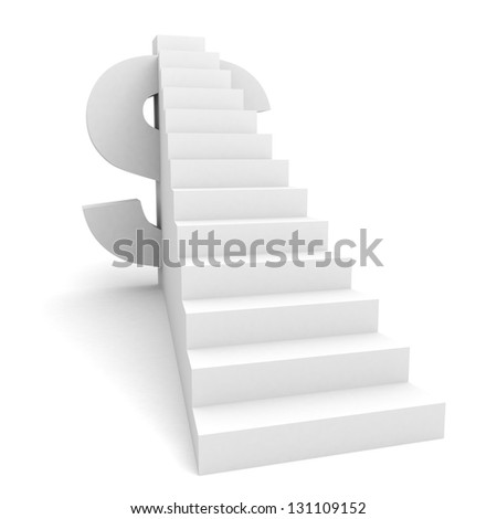 dollar sign with big financial success ladder - stock photo