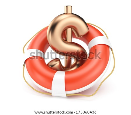 dollar sign with lifebuoy isolated on white background. 3d render