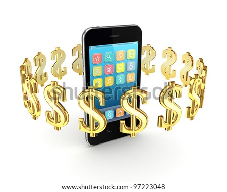 Dollar signs around modern mobile phone.Isolated on white background.3d rendered. - stock photo