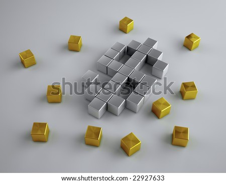 Dollar - silver and golden cubes
