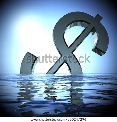 Dollar Sinking In The Sea Showing Depression Recession And Downturns 3d Rendering