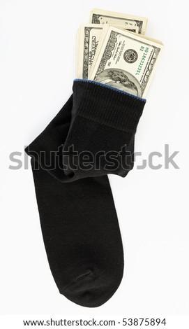 Dollar stock in a sock - stock photo