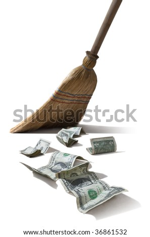 dollar sweeper isolated on white - stock photo